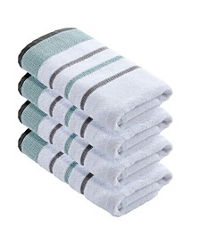 Great Bay Home Luxury Hotel Spa Striped Hand Towel Set of 4