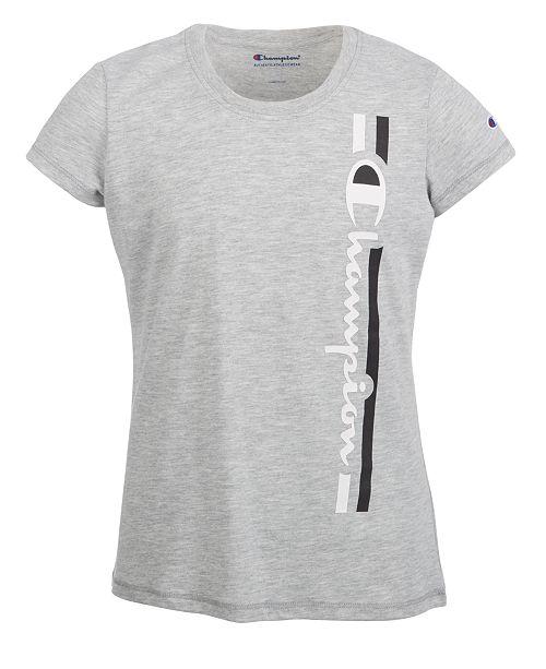 Champion Big Girls Vertical Logo-Print T-Shirt