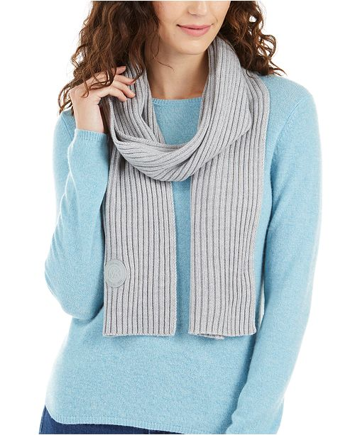 Michael Kors Ribbed Muffler Scarf With Logo Patch