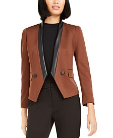 Bar III Faux-Leather-Trim Blazer, Created For Macy's