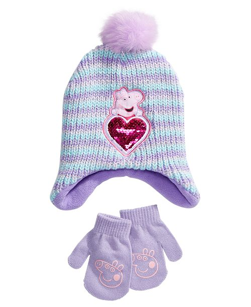 Accessory Innovations Toddler Girls Peppa Pig 2-Pc. Hat & Mittens Set