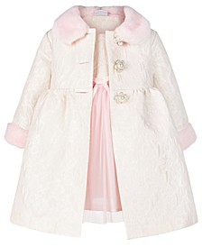 Baby Girls 2-Pc. Faux-Fur-Trim Coat and Dress Set
