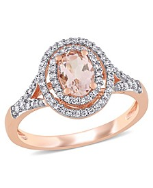 Morganite (3/4 ct. t.w.) and Diamond (1/4 ct. t.w.) Double Halo Ring in 14k Rose Gold
