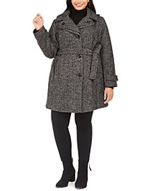 Plus Size Hooded Belted Coat