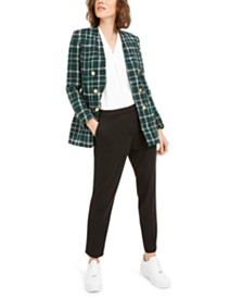 Bar III Plaid Bouclé Jacket, Straight-Leg Pants & Pleat Top, Created For Macy's