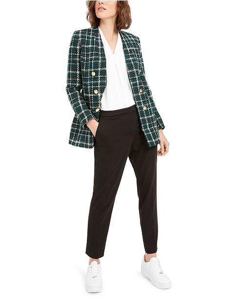 Bar III Plaid Bouclé Jacket, Straight-Leg Pants & Pleat Top, Created For Macy's