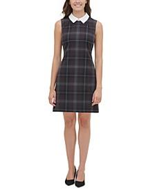 Contrast-Collar A-Line Dress