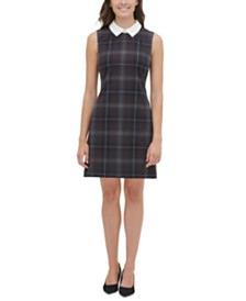 Tommy Hilfiger Contrast-Collar A-Line Dress