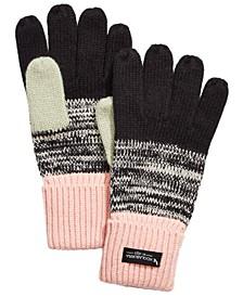 Knit Color-Block Marled Gloves