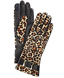 Buckle Leopard-Print Leather Gloves