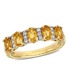 Citrine (1-1/6 ct. t.w.) and Diamond (1/6 ct. t.w.) Semi Eternity Ring in 14k Yellow Gold