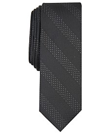 I.N.C. Men's Skinny Textured Stripe Tie, Created for Macy's