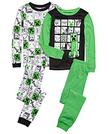 Little & Big Boys 4-Pc. Cotton Minecraft Pajama Set