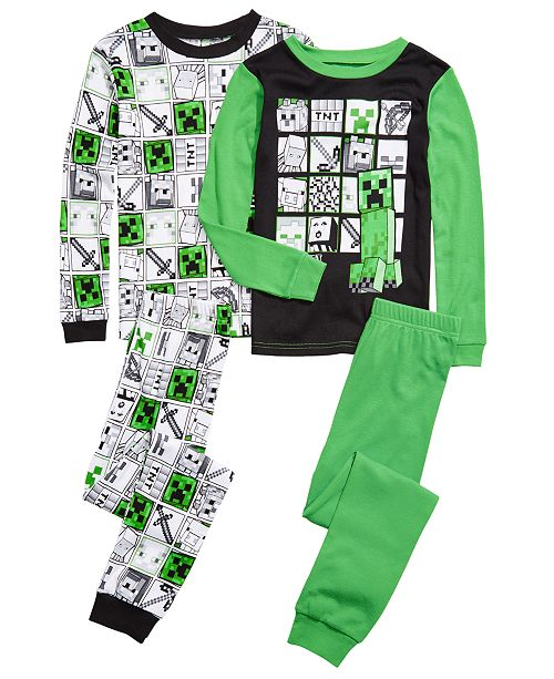 AME Little & Big Boys 4-Pc. Cotton Minecraft Pajama Set