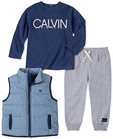 Calvin Klein Baby Boys 3-Pc. Chambray Vest, Logo T-Shirt & Pants Set