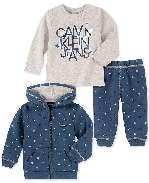 Calvin Klein Baby Boys 3-Pc. Logo-Print Hoodie, T-Shirt & Pants Set