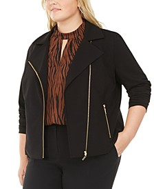 Plus Size Asymmetrical Zippered Jacket, Created For Macy's
