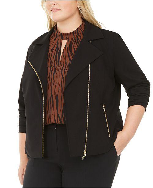 Bar III Trendy Plus Size Asymmetrical Zippered Jacket, Created For Macy's