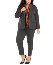 Nine West Plus Size Stretch Jacket, Plaid Tie-Neck Blouse, & Pull-On Pants