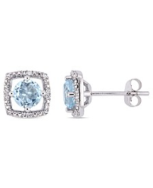 Blue Topaz (1 ct. t.w.) and Diamond Accent Halo Square Stud Earrings in 10k White Gold