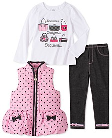 Little Girls 3-Pc. Ruffled Vest, Graphic Top & Leggings Set