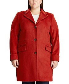 Lauren Ralph Lauren Plus Size Reefer Wool Coat, Created for Macy's
