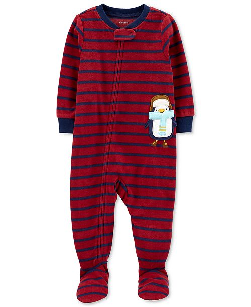 Carter's Baby Boys 1-Pc. Striped Penguin Fleece Footed Pajamas