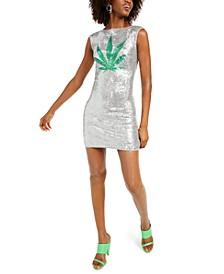 Sequined Leaf Sheath Dress