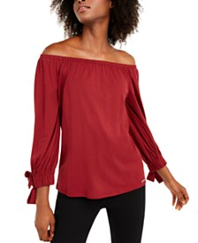 Michael Michael Kors Off-The-Shoulder Tie-Sleeve Peasant Top
