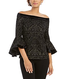 Off-The-Shoulder Glitter Top, Created For Macy's