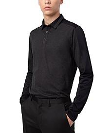 Men's Cotton Colorblocked Long-Sleeve Polo Shirt