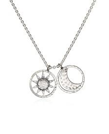 "Satya Jewelry Sun & Moon Silver 18"" Necklace"