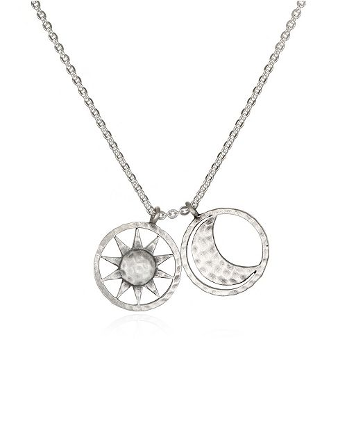 "Satya Jewelry Sun & Moon Silver 18"" Necklace"