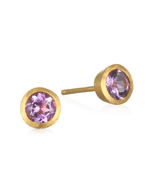 Satya Jewelry Amethyst Stud Gold Earrings