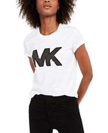 Michael Michael Kors Cotton Sequined Logo T-Shirt, Regular & Petite Sizes, Created for Macy's