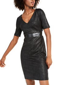 I.N.C. Animal-Print & Faux-Leather Sheath Dress, Created For Macy's