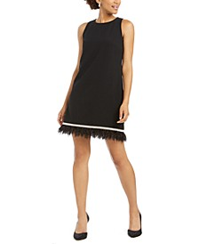 Embellished Feather-Trim Shift Dress