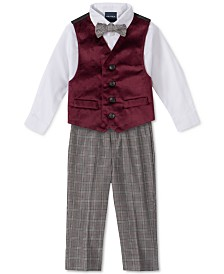 Nautica Baby Boys 4-Pc. Bowtie, Shirt, Velvet Vest & Pants Set