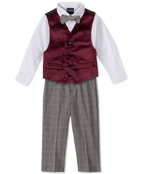 Nautica Baby Boys 4-Pc. Bowtie, Shirt, Velvet Vest & Pants Set