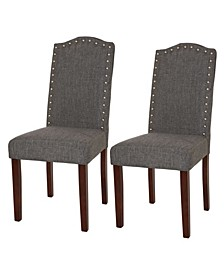 Upholstered Dining Chair with Studded Decoration Set of 2