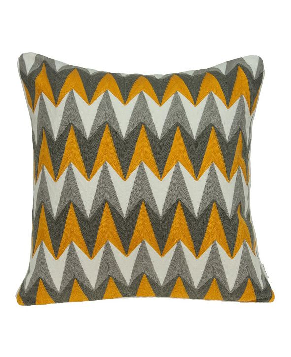 Parkland Collection Toki Transitional Grey and Orange Pillow Cover With Down Insert