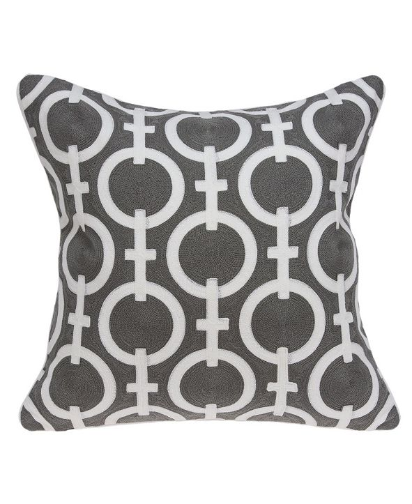 Parkland Collection Rounder Transitional Grey and White Pillow Cover with Polyester Insert