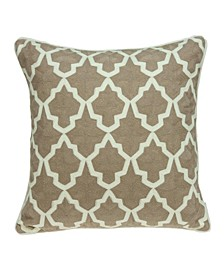 Canita Transitional Beige and White Pillow Cover With Down Insert