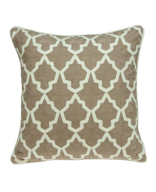 Parkland Collection Canita Transitional Beige and White Pillow Cover With Down Insert