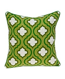 Gamma Traditional Green and White Pillow Cover with Polyester Insert
