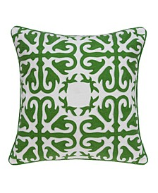 Ceti Traditional Green and White Pillow Cover With Down Insert