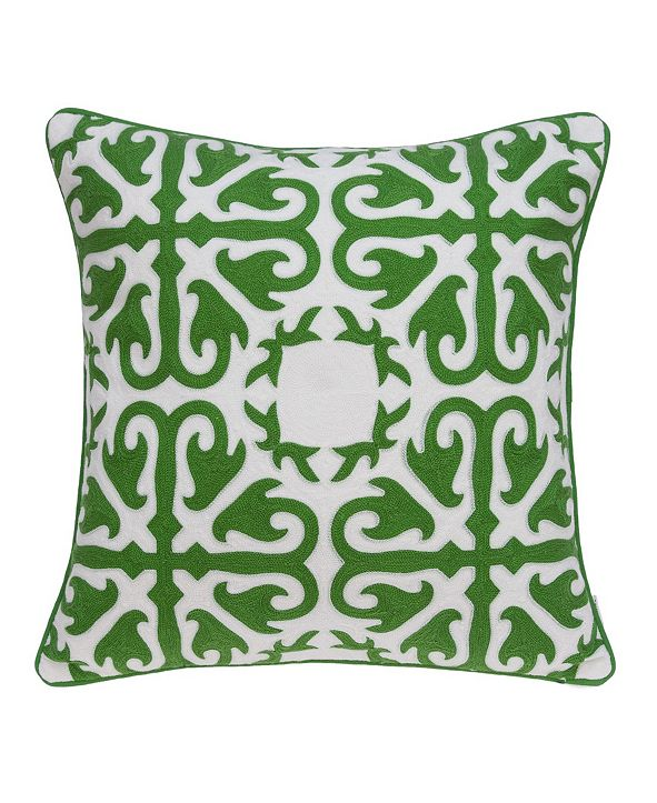Parkland Collection Ceti Traditional Green and White Pillow Cover With Down Insert