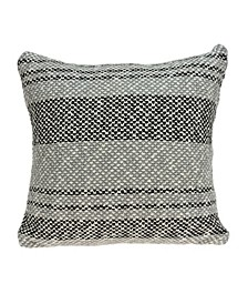 Bella Transitional Grey Pillow Cover With Down Insert
