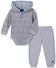 Baby Boys 2-Pc. Thermal Bodysuit & Fleece Jogger Pants Set
