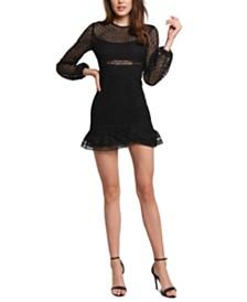 Bardot Illusion Lace Flounce Dress